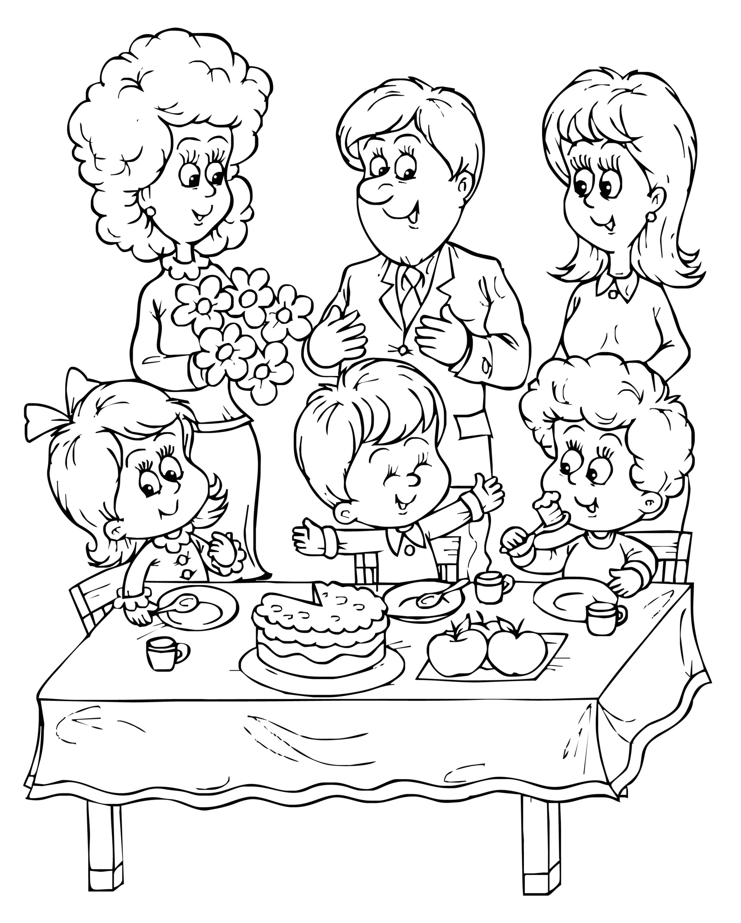birthday party coloring pages - Bing Images | Семья и дети ...