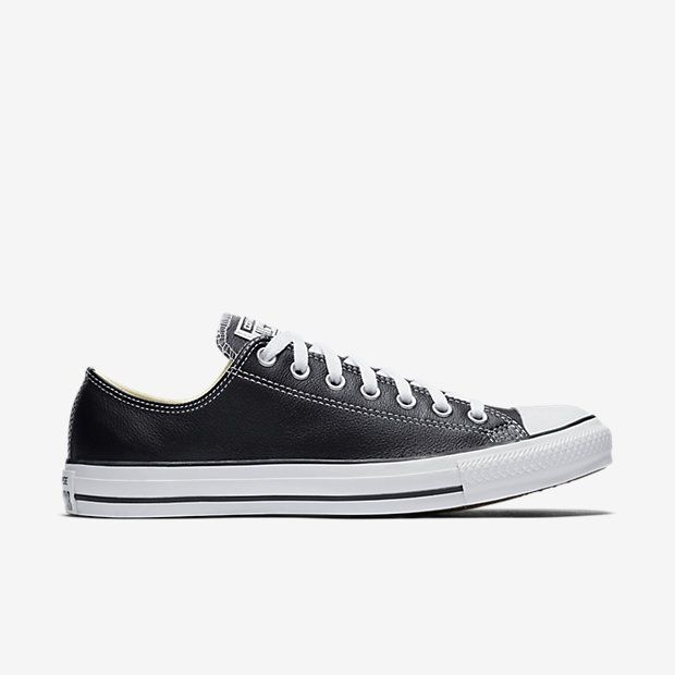 Chuck Taylor Converse AllStar Black Leather LowTop Sneakers