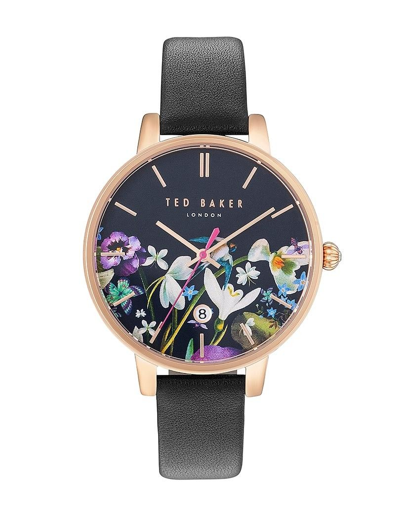 51de05dc7495 The Kate watch from Ted Baker is a sleek black style which features a floral  printed face  ideal for the Dark Romance trend. Water resistant to 50  meters ...