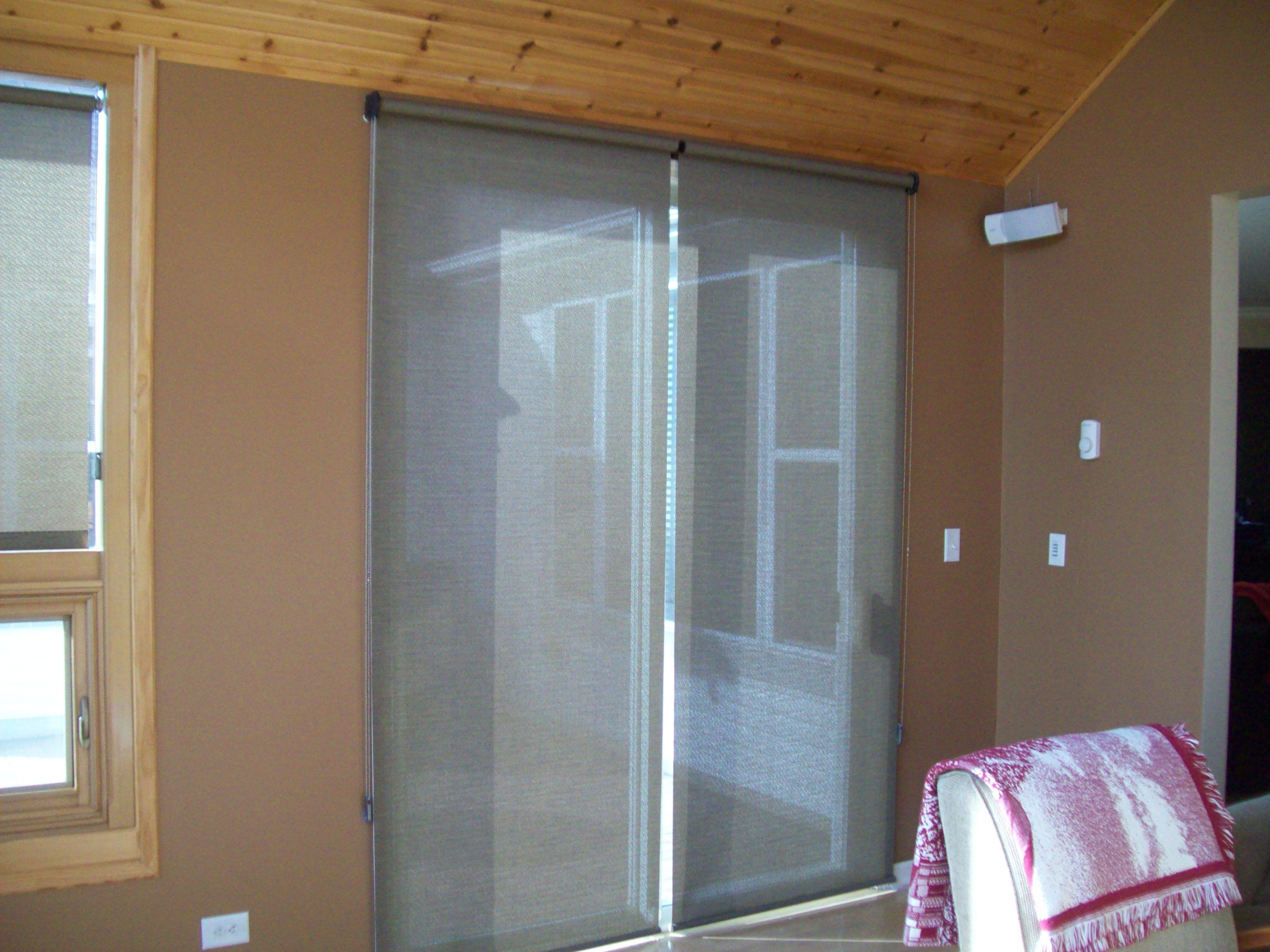 Roller Shades On A Patio Door With Images Windows And