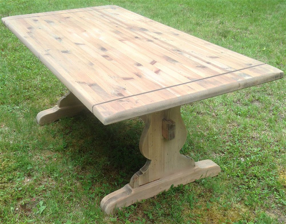 72 Vintage Ethan Allen Unfinished Pine Tavern Trestle Table