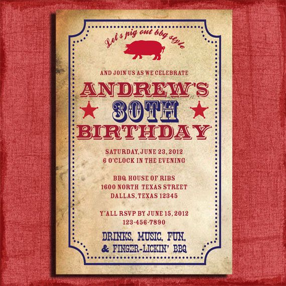 Bbq birthday invitation or surprise birthday 4x6 invitation bbq birthday invitation or surprise birthday invitation printable and diy from puzzleprints solutioingenieria Images