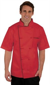 Men's Traditional Fit Short Sleeve Chef Coat - Knotted Cloth Buttons - 100% Cotton