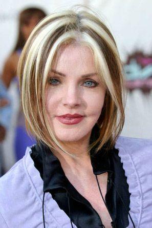 Priscilla Presley Chunky Highlights Circa 2003 Brown Hair With