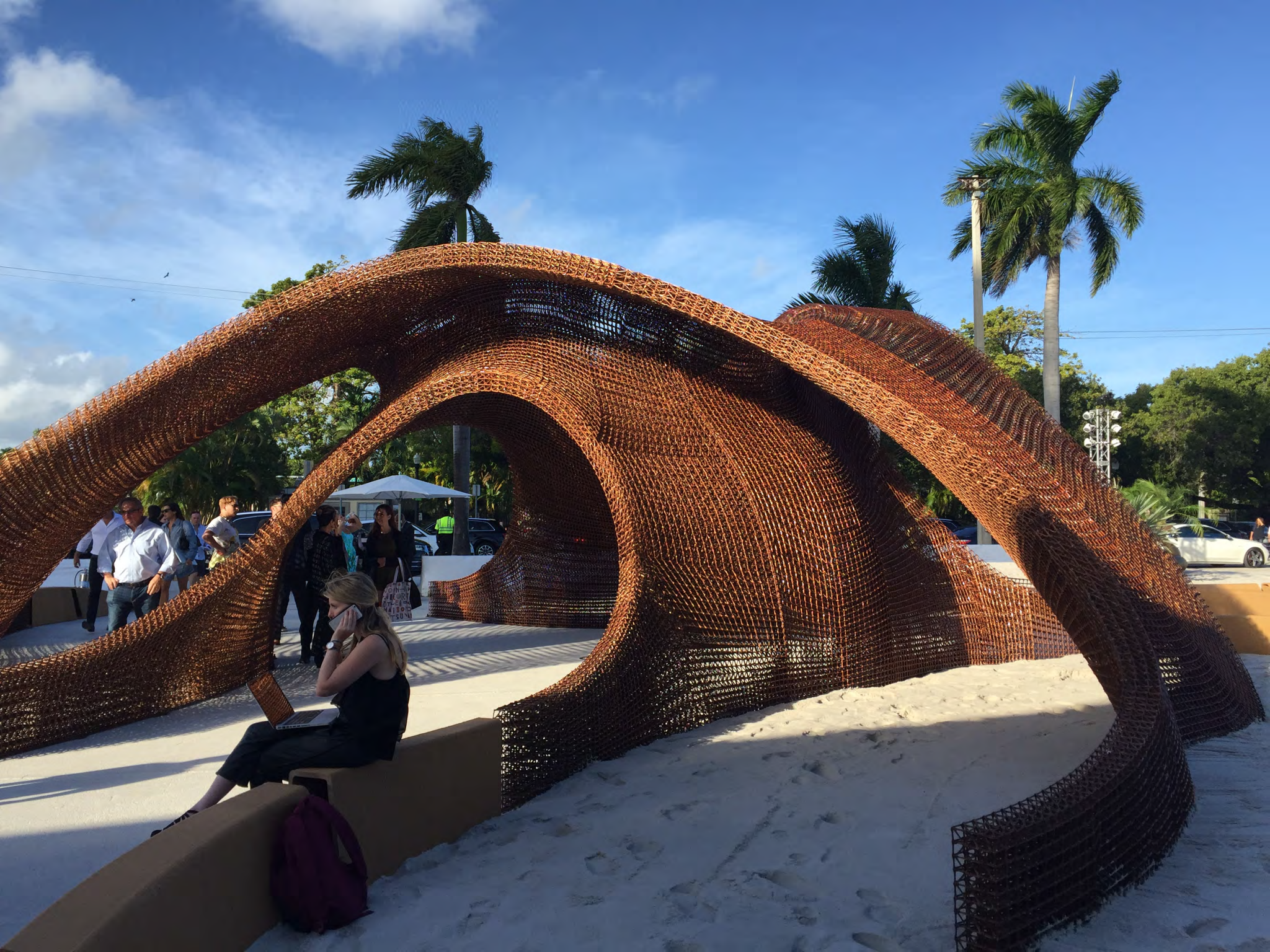Flotsam And Jetsam Structure Made With Biodegradable Bamboo Filament Branch Technology For Shop Architects Shop Architects Pavilion Design Miami Design