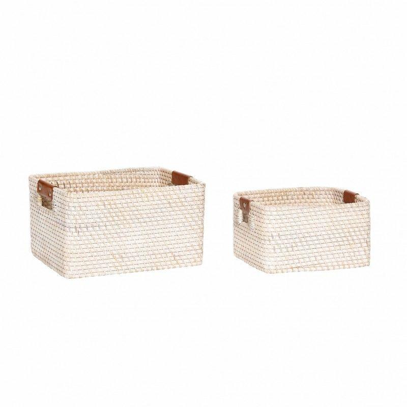 Basket W Handle Square Rattan Baskets Storage Pinterest