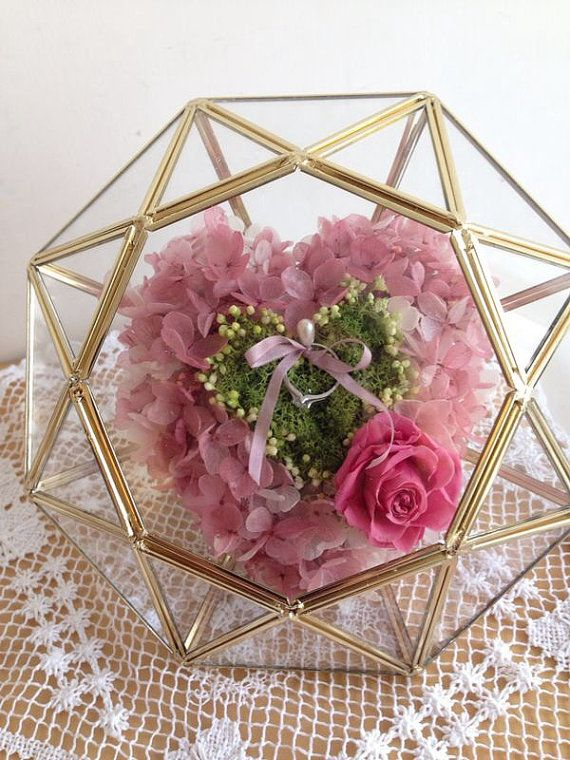 Preserved Flowers Ring Box In A Diamond Shape Glass By ZoeFlowever 120000