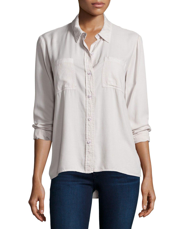 Longsleeve buttonfront shirt white sand womenus size m