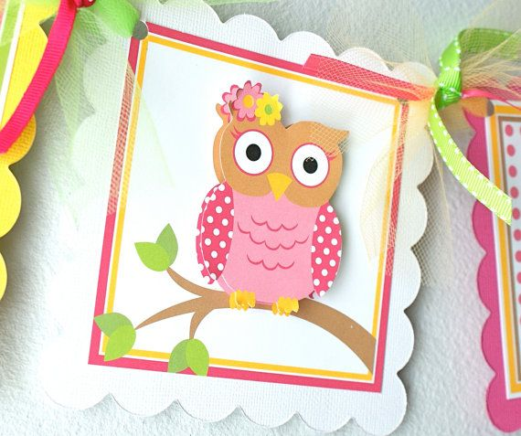 Little Whootie Owl Age Banner by ToadallyCuteParties on Etsy, $14.00