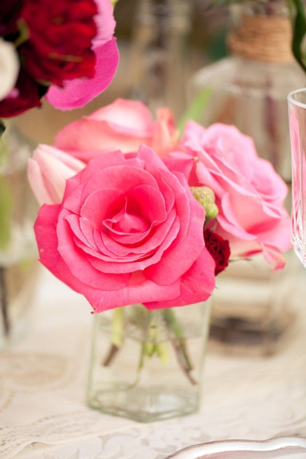 Pink Roses Centerpiece Rose Just A Few In Small Vase Impact