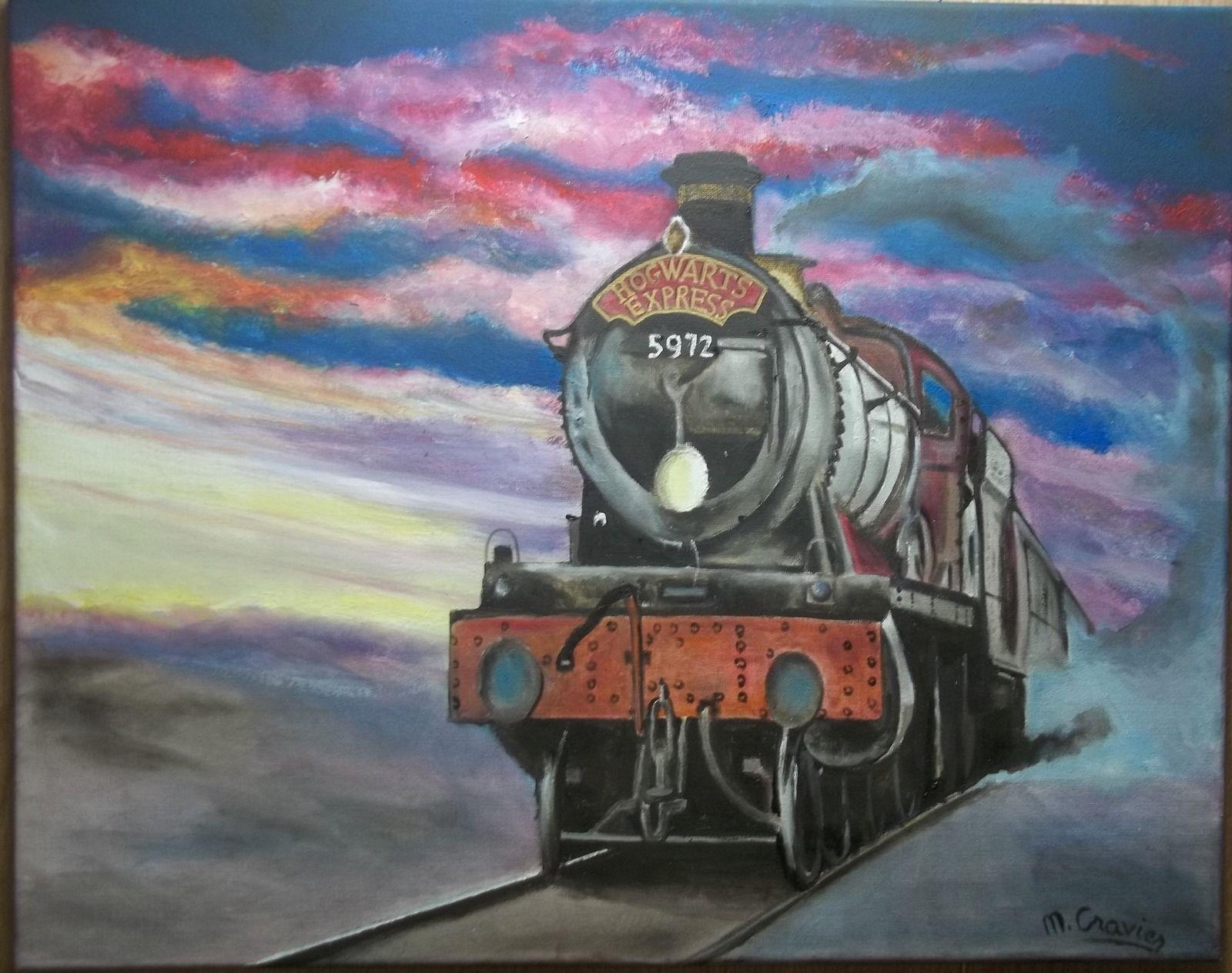 Tableau peinture huile toile train hogwarts express harry for Toile de fenetre