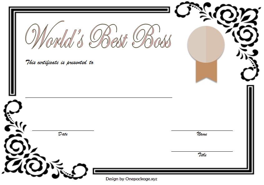 World S Best Boss Certificate Template Free 3rd Version Certificate Templates Worlds Best Boss Best Boss
