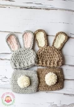 a crotchet bunny hat and diaper cover for baby girl s first photo