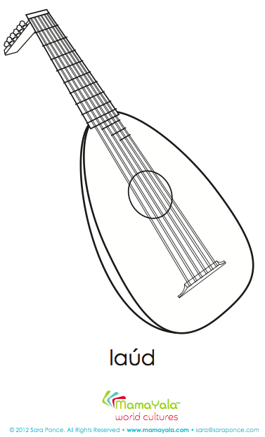 a full collection of printable coloring sheets with musical instruments from latin america and spain