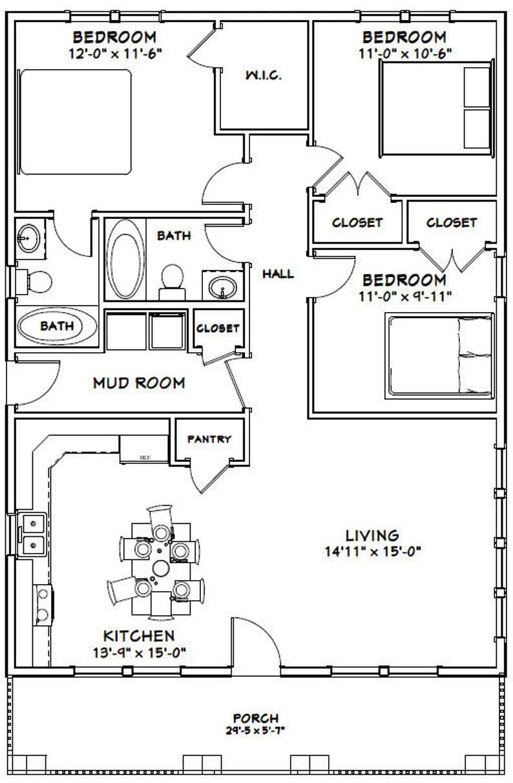 30x40 House 3 Bedroom 2 Bath 1 200 sq ft PDF Floor Plan Instant Download Model 2B