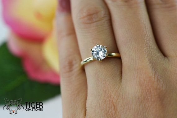 14k Yellow Gold 1 Carat 6 Prong Round Solitaire by TigerGemstones ... ef5382435