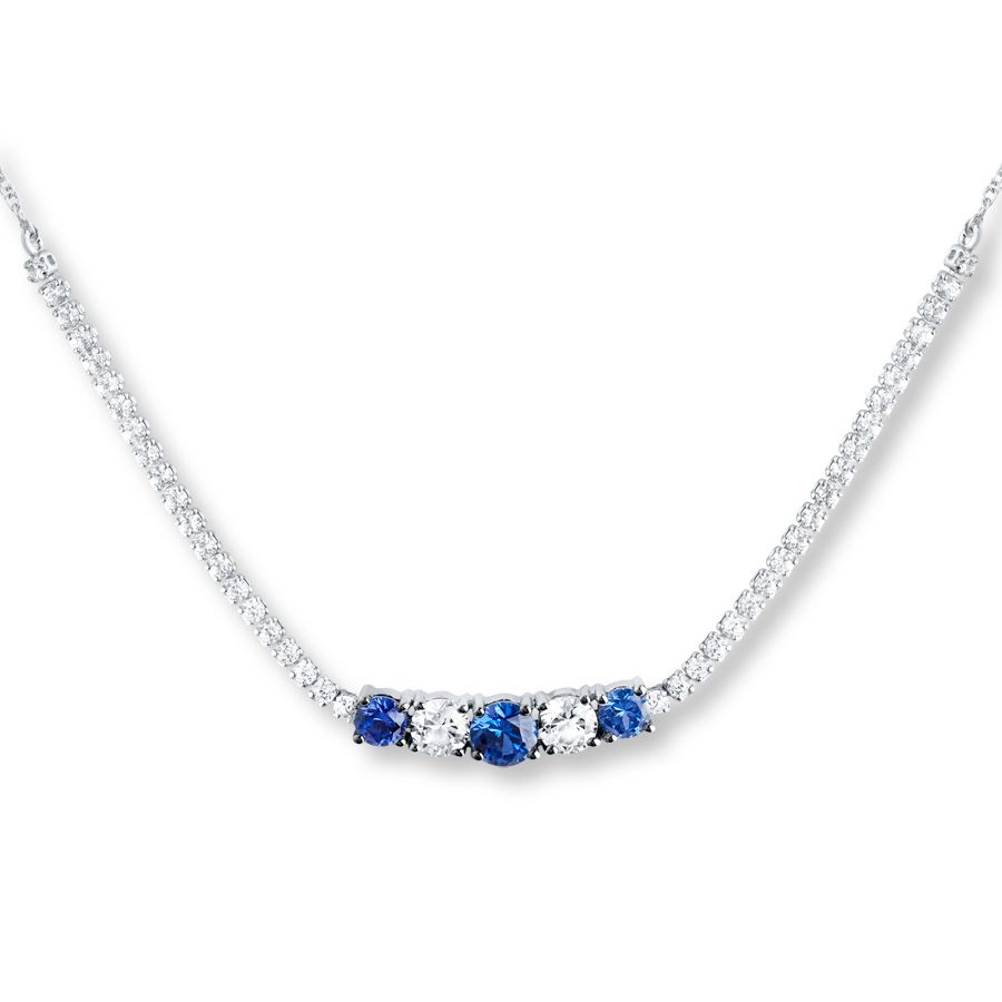 f2c4eca1820b89 Lab-Created Sapphire Necklace Sterling Silver | Jewelry | Sapphire ...