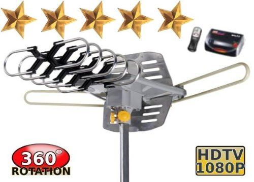 Outdoor Amplified Hdtv Uhf Vhf Antenna W Remote Control 360 Degree Motorized Rotation Kit With Installation Kit Outdoor Antenna Hdtv Hdtv Antenna