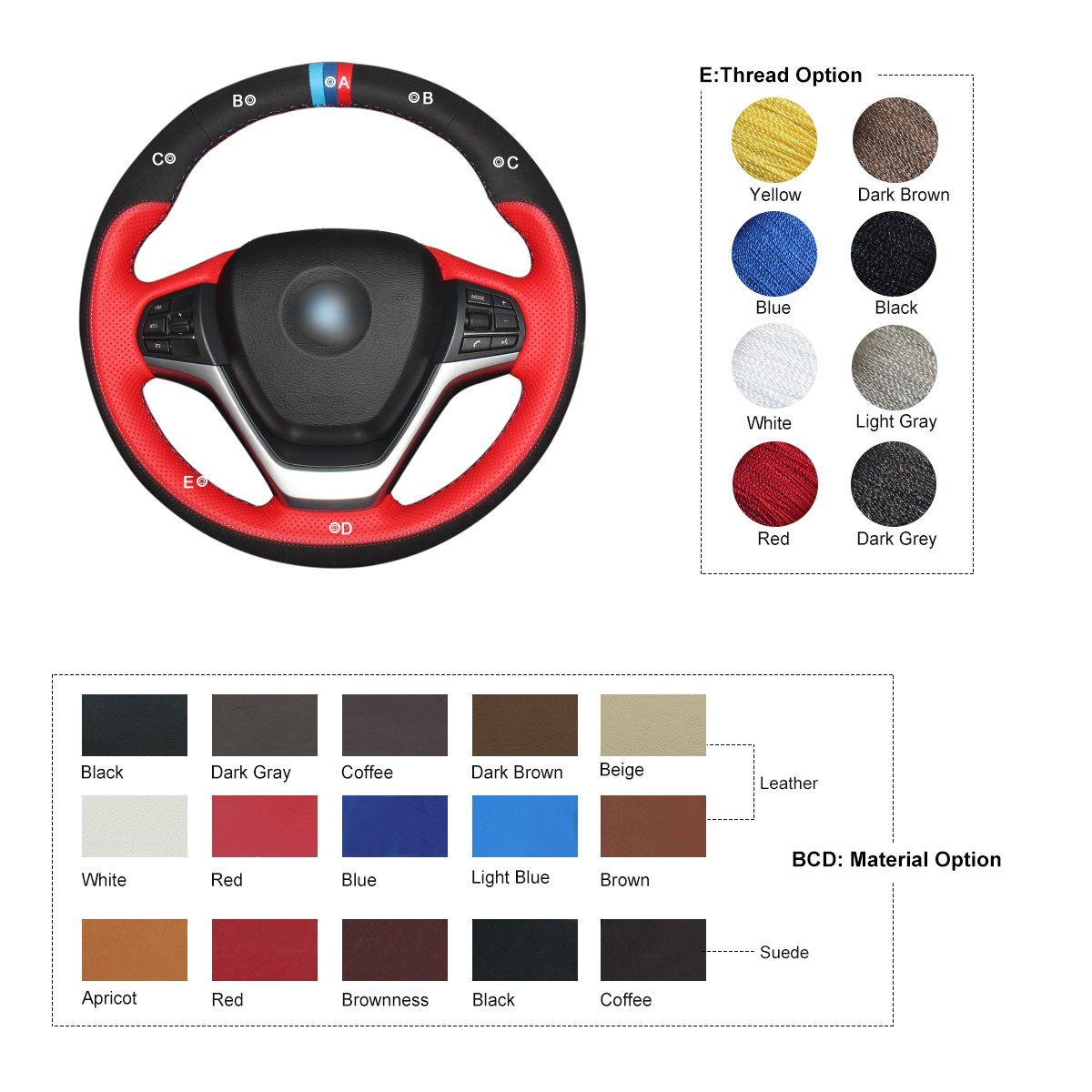 Mewant Red Genuine Leather Black Suede Car Steering Wheel Covers For Bmw F15 X5 20142017 F16 X6 20152017 Click On The Im Red And Blue Brown Beige Blue Brown