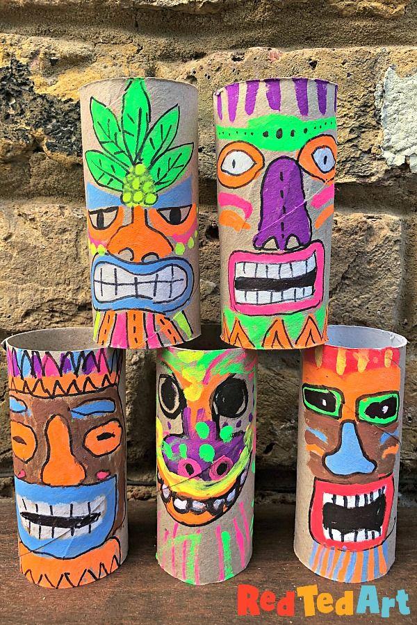 Toilet Paper Roll Tiki Mask Craft
