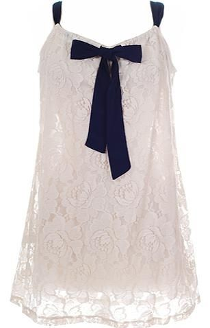 Sailor Doll Dress: Features an adjustable drawstring neckline with navy blue ribbon décor at front center, mesmerizing floral lace shell with tonal liner for full coverage, and a timeless trapeze silhouette to finish.