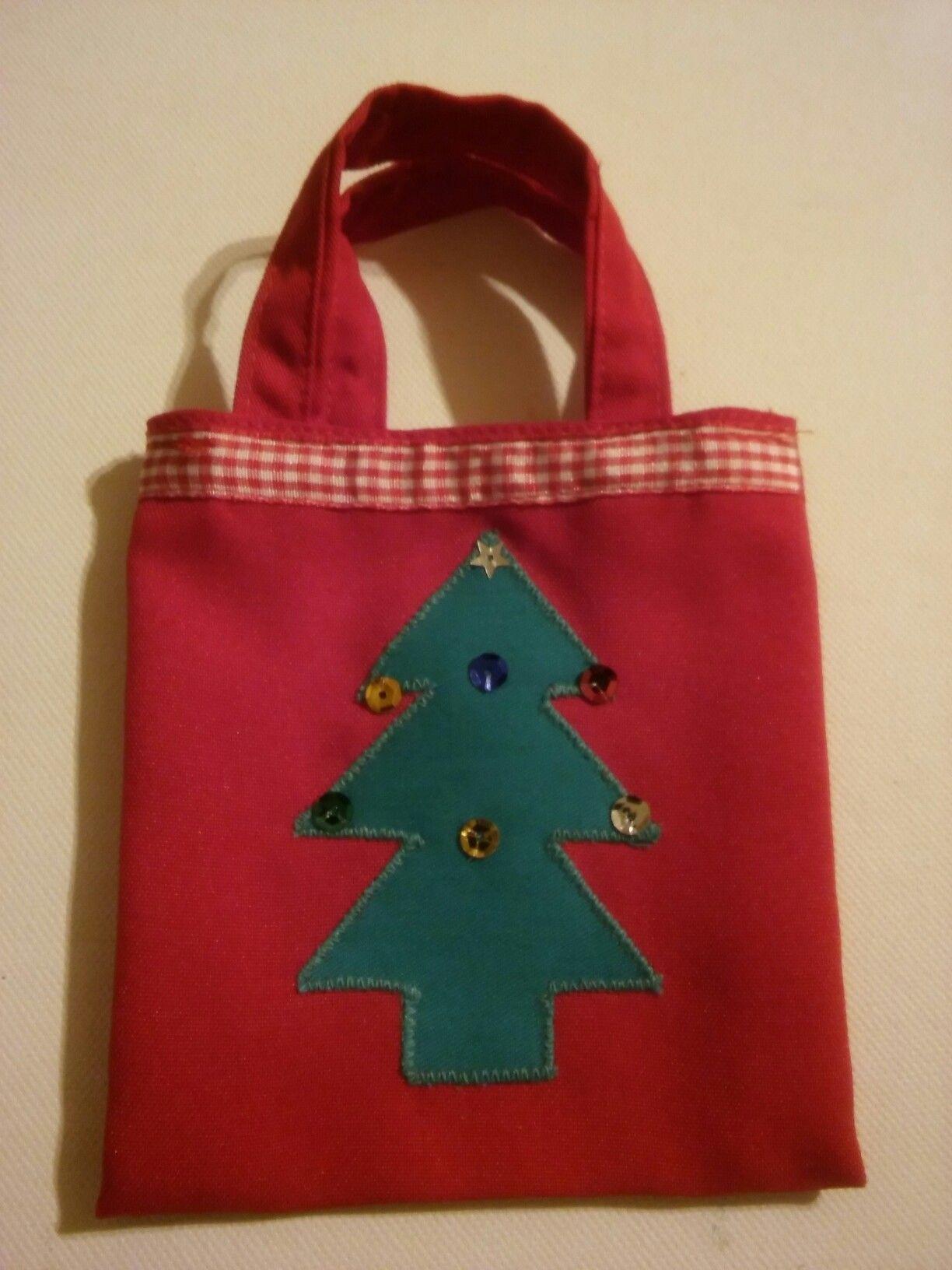 Small Xmas gift bag, Christmas tree design.