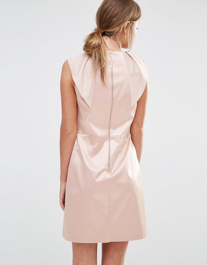 Satin Ruffle Shift Dress - Cream Oasis Release Dates Cheap Online Outlet Shop Offer Excellent Sale Online Fashion Style Cheap Price ChKGx8Gh