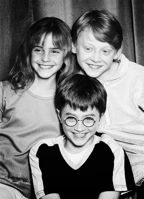Emma Watson, Daniel Radcliffe and Rupert Grint at the Harry Potter casting announcement 2000.