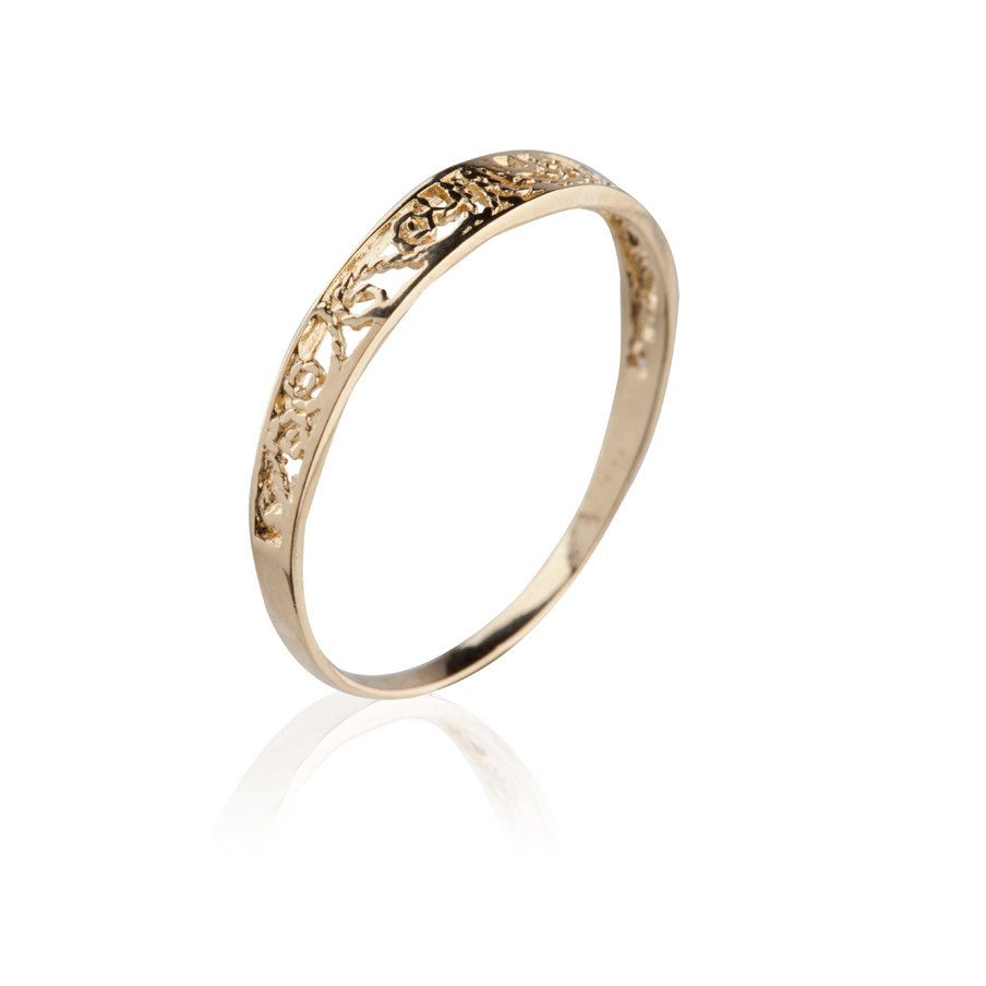 thin wedding bands band tiny solid rose gold
