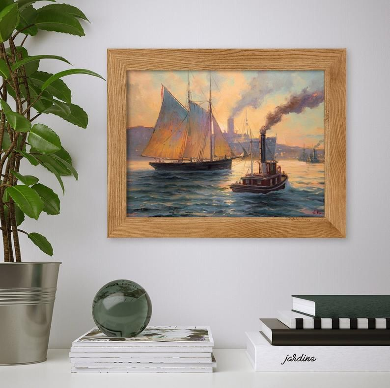 Steam Ship Ship At Sea Port Wall Art Seascape Painting Canvas Etsy In 2020 Ocean Wall Art Seascape Paintings Canvas Painting