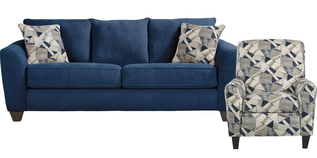 Sandia Heights Blue 2 Pc Living Room In 2020 Room Living Room Upholstery