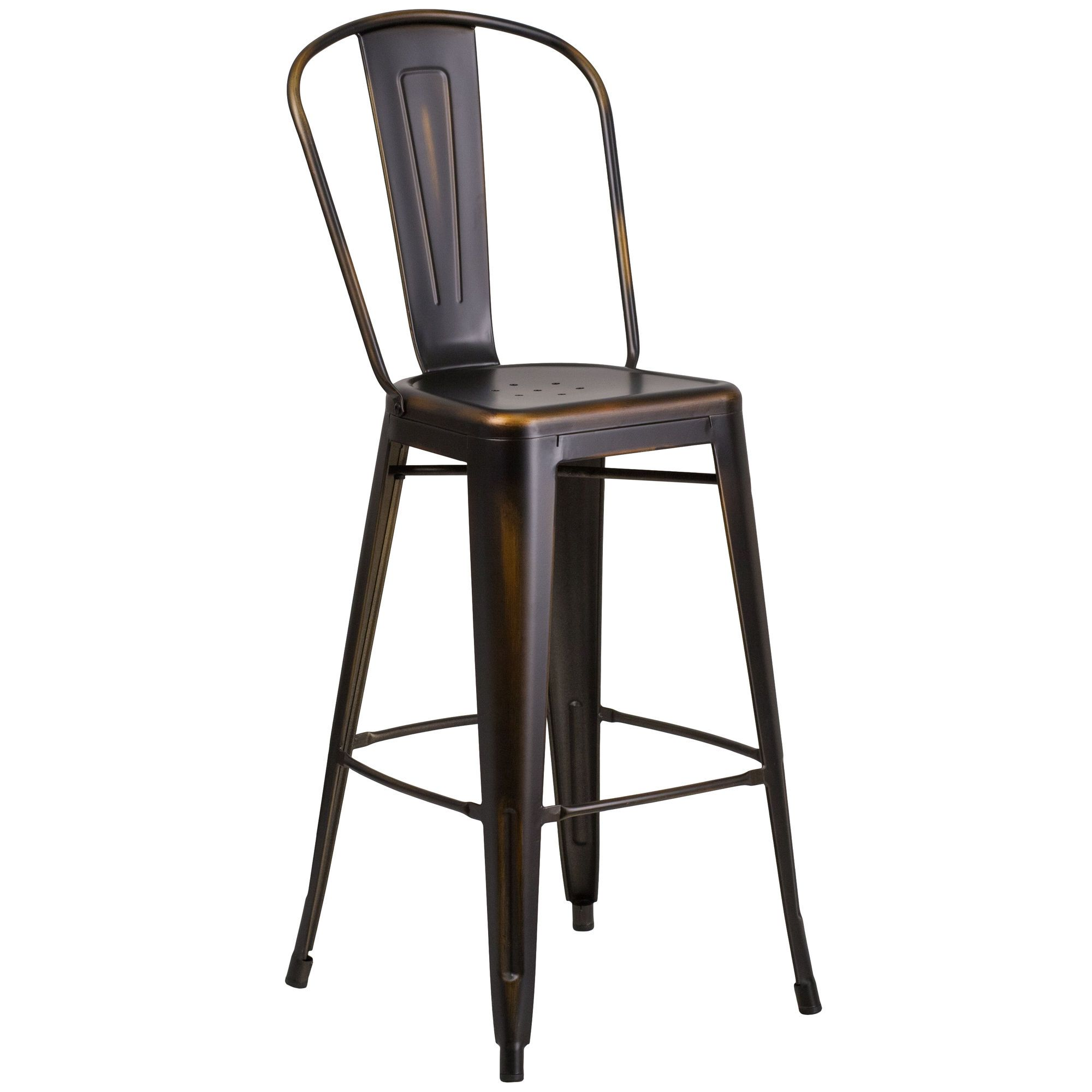 Commercial Grade 30 High Distressed Copper Metal Indoor Outdoor Barstool With Back Outdoor Bar Stools Bar Stools Metal Bar Stools