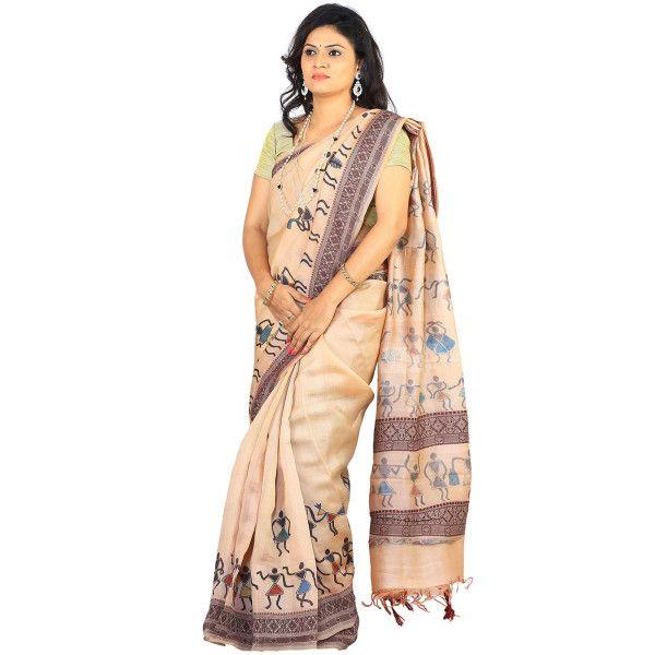 Cream Kalamkari Tussar Silk Handpainted Saree with Tribal Design kl0020