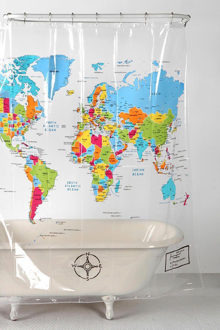 world map shower curtain urban