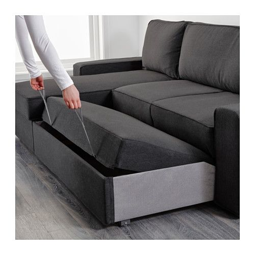 vilasund sofa bed with chaise longue dansbo dark grey ikea diverse pinterest canap. Black Bedroom Furniture Sets. Home Design Ideas