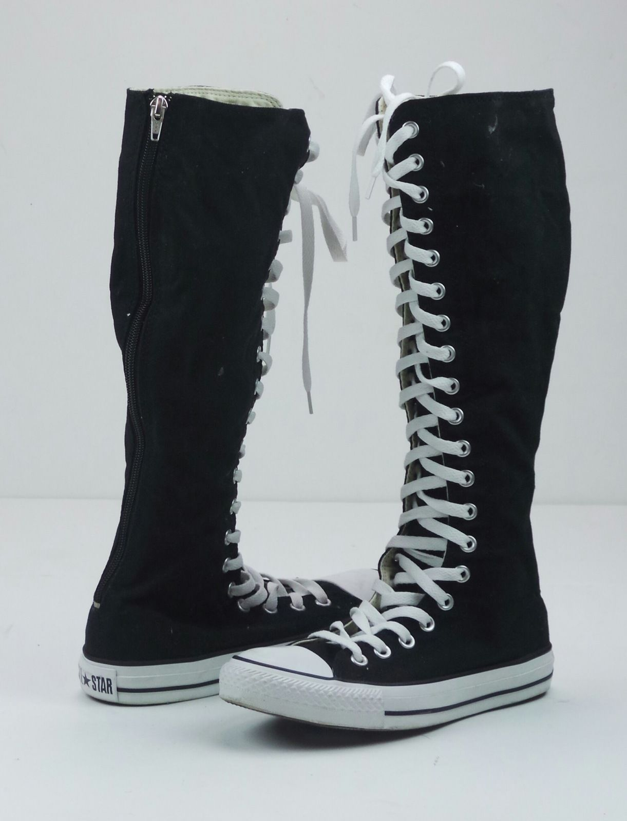 3474bf0f685d Converse Chuck Taylor Hi Canvas Long Lace Zip Up Knee High Boots Sneakers  Size 7