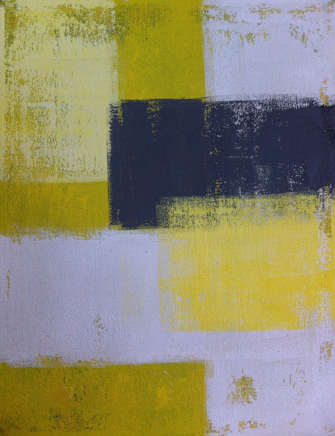 Acrylic Abstract Art Painting White, Yellow and Grey - Modern ...