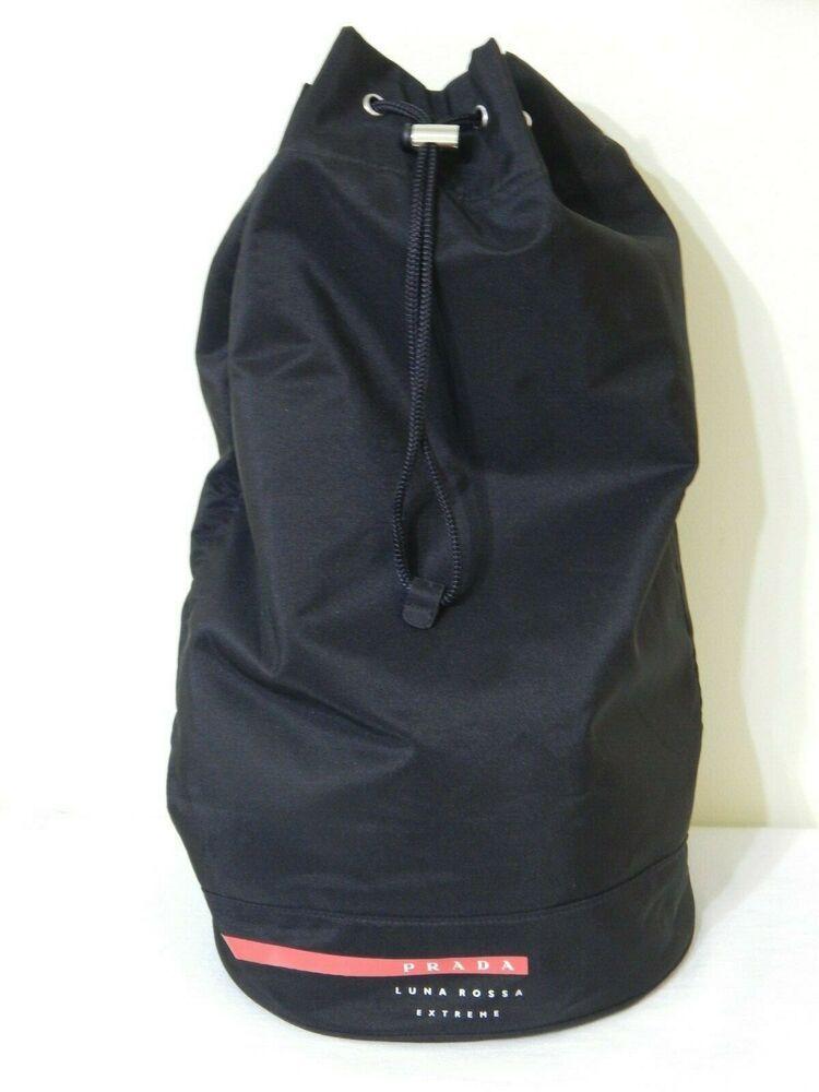 Sponsored Ebay Prada Luna Rossa Extreme Mariner Black Drawstring Duffle Gym Bag Shoulder Strap Canvas Duffle Bag Travel Shoulder Bags Leather Duffle