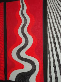 This dynamic series of 5 quilts by Diane Firth explore the elements - fire, earth, water and air.