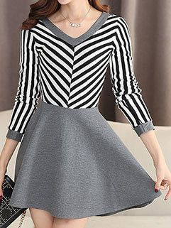 Best Quality Women V-neck Striped Patchwork Outdoor Mini Long Sleeve Dress