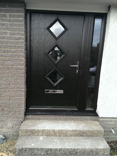 Diamond 3 Composite Front Door in Black Brown and a Side Panel ...
