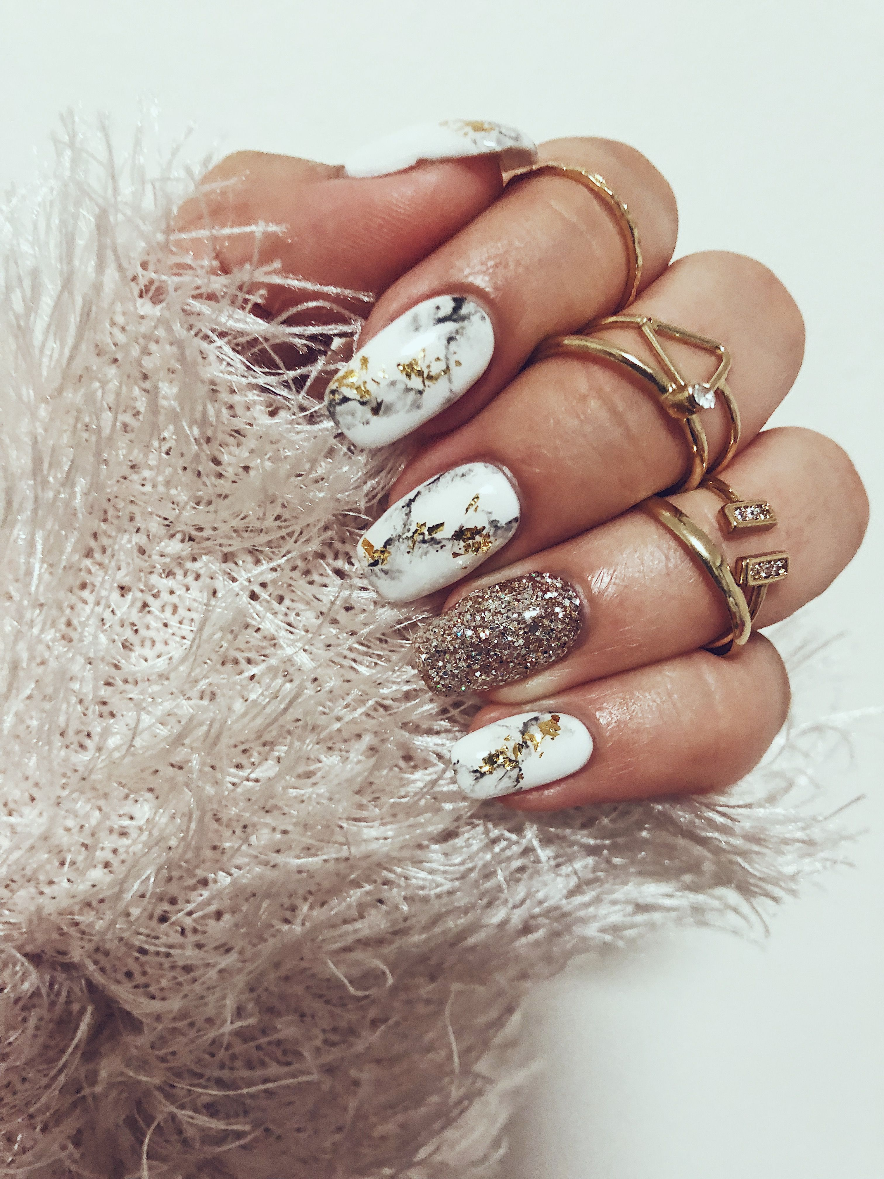 gold white marble nail art for christmas christmasnails