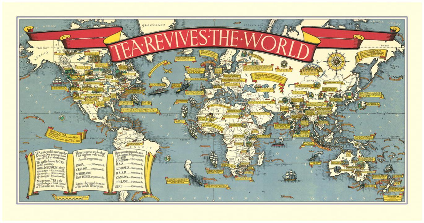 Tea revives the world map 1940 rolled sheet amazon tea revives the world map 1940 rolled sheet amazon gumiabroncs Image collections