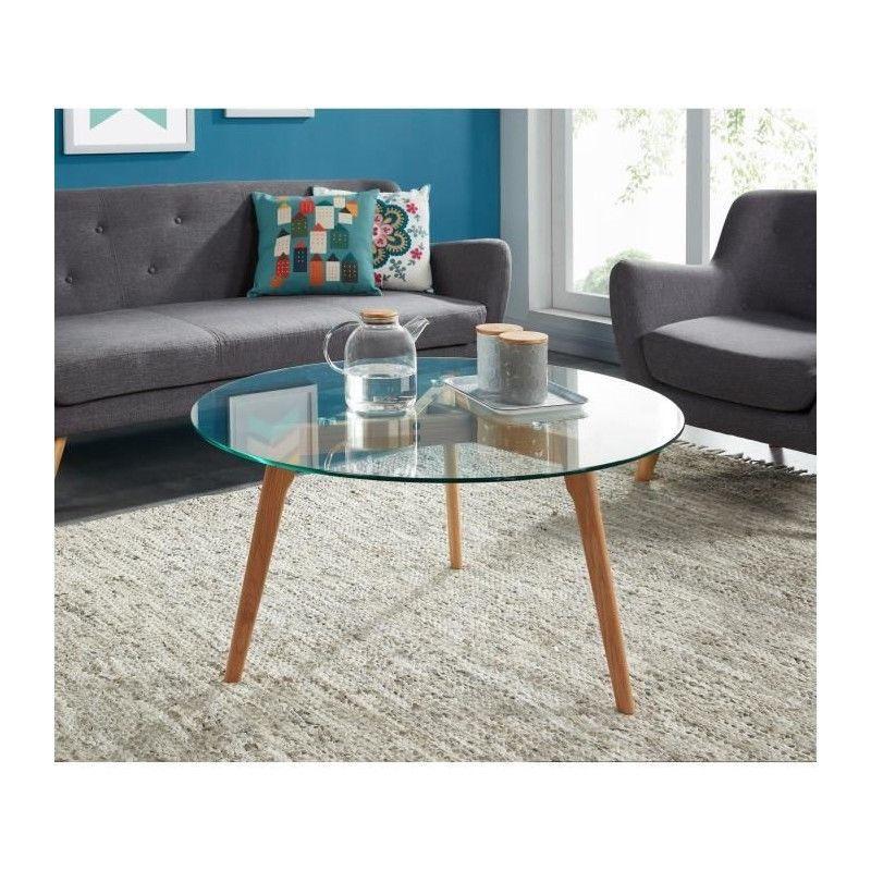 Cm Trempé Basse Montauk Transparent Table Et Verre Bois 90x90 KTFclJ31