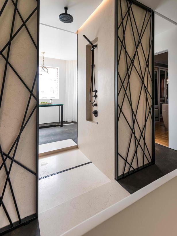 Black Tan Double Entrance Shower Modern Wall Decor Bathroom Wall Decor Iron Wall Decor