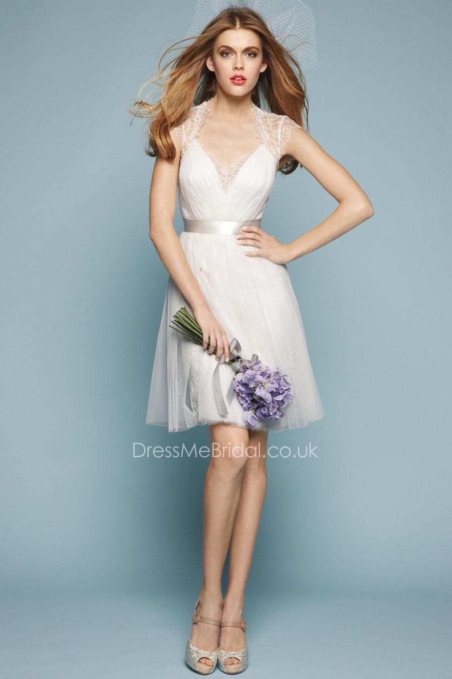illusion queen anne neck lace and soft netting short bridesmaid ...