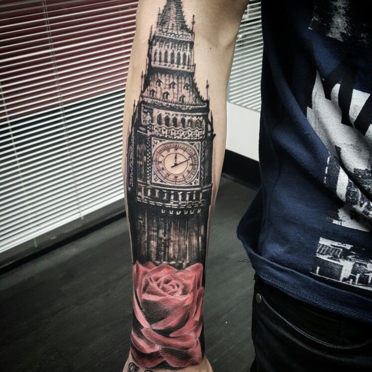 Big Ben, Architecture Realistic Tattoo By @vesnavtattoos
