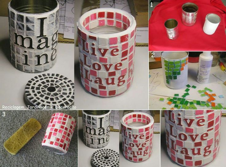 Pinterest Recycled Product Craft Ideas Recycled Mosaic Cans