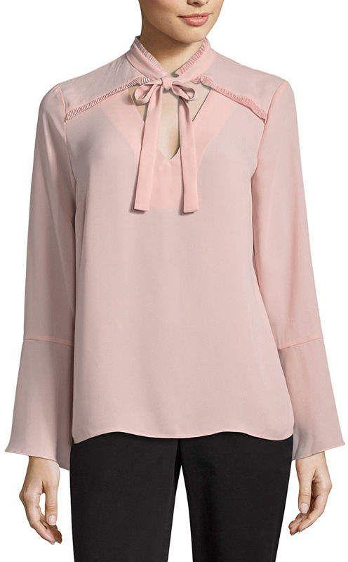 0526bd8a5 Liz Claiborne Long Sleeve V Neck Georgette Blouse Blusas De Seda