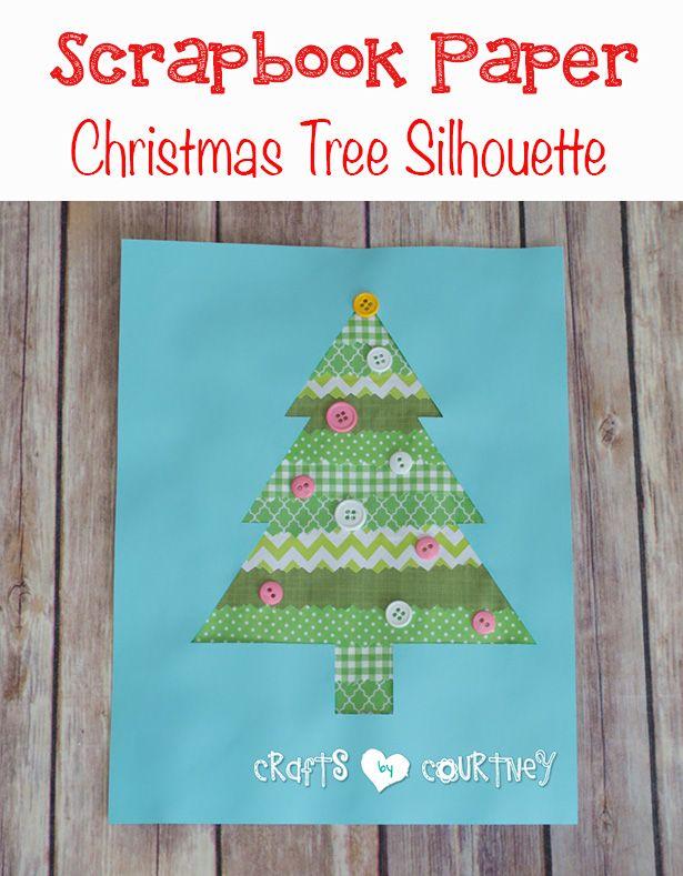 Kids DIY Scrapbook Paper Christmas Tree Silhouette Art